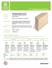 cover image link to the laminated veneer lumber transparency brief pdf