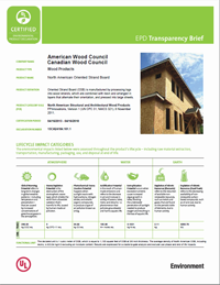 cover image link to the oriented strand board transparency brief pdf